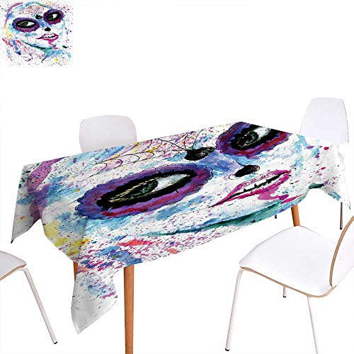 familytaste Girls Dinning Tabletop Decoration Grunge Halloween Lady with Sugar Skull Make Up Creepy Dead Face Gothic Woman Artsy Table Cover for Kitchen 60
