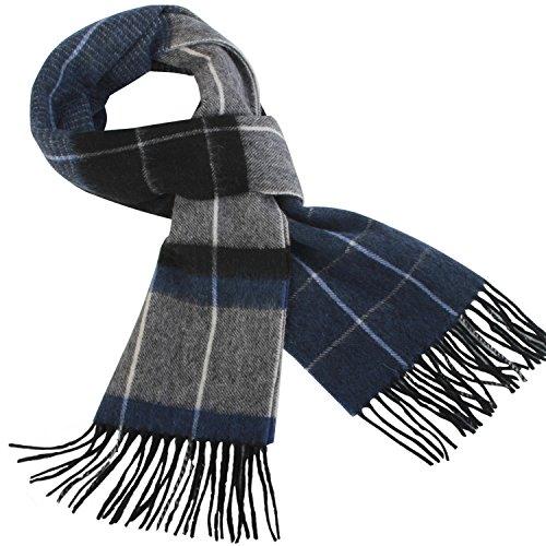 Erigaray 100% Wool Mens Scarf Plaid Winter Warm Fashion knit Scarfs For (Mens Wool Scarves)