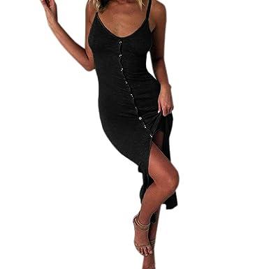 472064956ec JIANGfu Robes Femme Elegante Femmes Vacances V Cou Moulante Front Split  Filles Dames Été Plage Midi Dress Femmes Fashion Imprimé Sangle Robe   Amazon.fr  ...