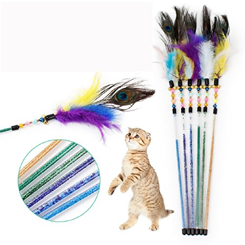 Naladoo Kitten Pet teaser Peacock Feather Interactive Fun Toy Wire Chaser Wand For Cat (Hatchet Wire)