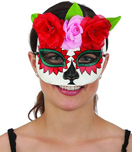 Halloween La Muerte Costume (Jacobson Hat Company Ladies Day Of The Dead Sugar Skull Plaster Hand Painted Mask With Flowers)