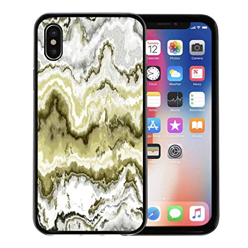 Emvency Phone Case for Apple iPhone Xs case,Green African Gem Stone Pattern Yellow Agate Aluminosilicate Batu for iPhone X Case,Rubber Border Protective Case,Black (Agate Moss Yellow)