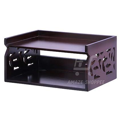 Stupendous Amaze Shoppee Wood Set Top Box Wall Shelf Brown Glossy Finish Interior Design Ideas Philsoteloinfo