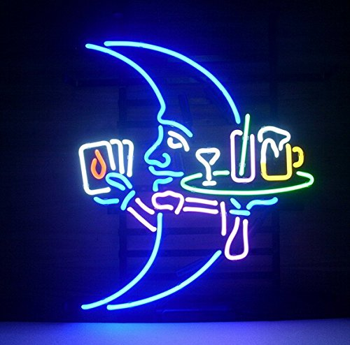 (Blue Moon Waiter Neon Sign Beer Bar Pub Store Party Room Wall Windows Display Neon Light)