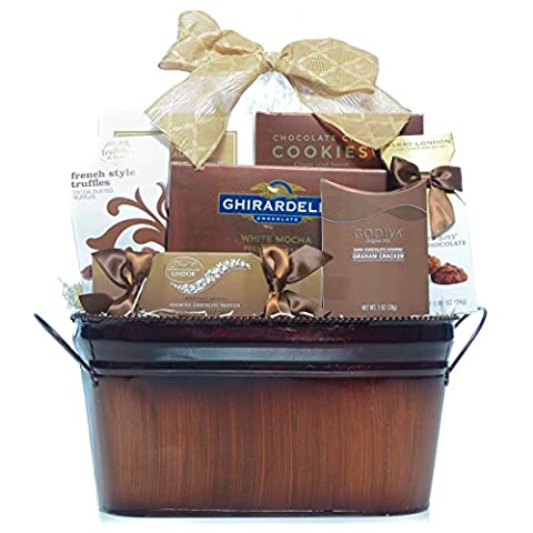 Gourmet Chocolate Assortment Gift Basket with ONLY brand names. Includes: Godiva Dark, Truffettes de France, Cocosa Chocolate Cake, Ghirardelli Chocolate, - Harry London Truffles