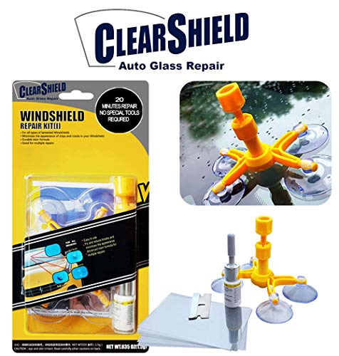 Windshield Repair Kit by Clearshield - DIY Auto Glass Rock Chip Repair Kit for Star Horseshoe Bull's Eye Chips or Cracks - No Need to Replace the Whole Windshield - with Instructions (3 Pack) by Clearshield (Image #1)