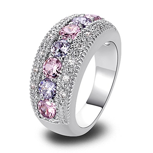 (Psiroy 925 Sterling Silver Created Pink Topaz Filled Half Eternity Band Ring Size 7)