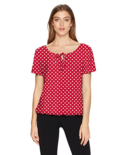 Star Vixen Women's Short/Slit Sleeve Keyhole-Tie Peasant Top Bubble Hem, red/White dot, L