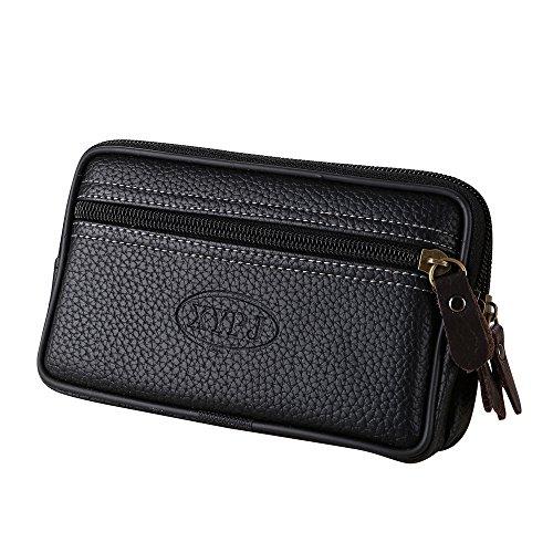 (Botrong Vintage Men Leather Messenger Bag Coin Bag Phone Bag Clutch Waist Bag (Black))