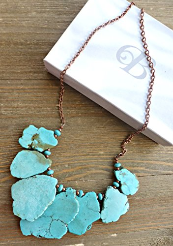 Slab Turquoise Necklace - Turquoise howlite stone and copper metal, chunky one layer necklace. Bohemian handmade jewelry, jewellery. Fashion and accessories.