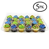 24 Slots Cupcake Containers Holders - Set of 5 Plastic High Dome Cupcake Boxes for Tall Icing - Perfect for Transporting Standard size Muffins or Cupcakes