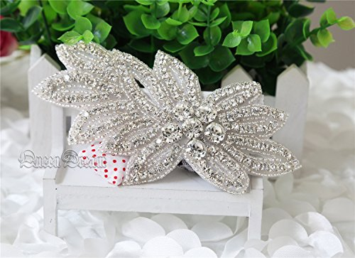 QueenDream,Leaf Mosaics Crystal Bridal Applique,Rhinestone Applique, Discount Fashion Wedding Belt Applique,Crystal Rhinestones hair - Discount Garters Wedding