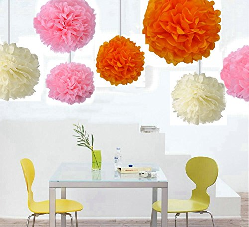 """Zorpia® 18pcs Mixed 8inch 10inch 14inch Sizes New design DIY Tissue Paper Pom-poms Flower Ball Hanging decoration pom poms Flower Ball Wedding Party Outdoor Decoration / Tissue Paper Flower Ball Pom-poms For Birthday Party Baby Room Nursery Decoration - Pom Poms Ball Blooms Tissue Paper Flowers - Celebration Party Hotel House Room Wedding Decoration - Vintage Hanging Lantern Party / Wedding / Home (18 Pack Mixed 8"""" 10"""" 14"""" Sizes Pink & Orange & Beige)"""