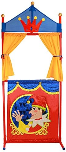 IQ Toys Deluxe Puppet Show Theater Sturdy Non-Top Base Fold-able and Easy to Store