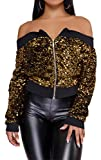 Speedle Women Party Clubwear Sexy Off The Shoulder Sequin Jacket Coat Outwear Gold XL