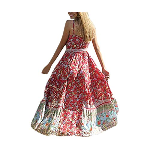 (Women Boho Dress Casual Floral Tropical Maxi Dresses Vintage Loose Empire Waist Spaghetti Strap Chiffon Beach Long Dress Red)