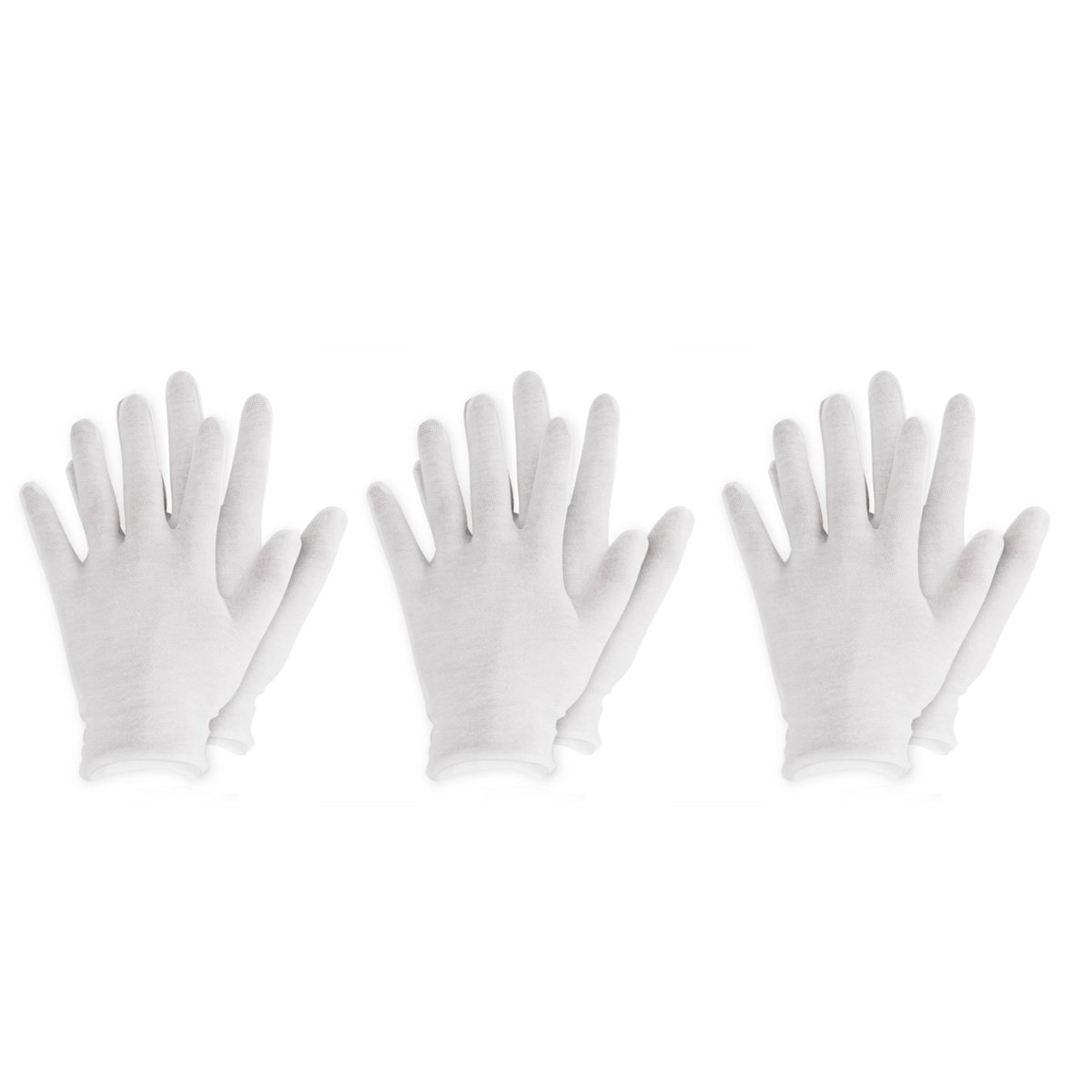 CHICTRY White Cotton Gloves Soft Lightweight Reusable Work Gloves for Dry Hand Moisturizing Hand Spa and Coin Jewelry Inspection 6 Pairs One Size
