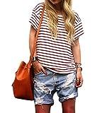Faithtur Women Round Neck Short Sleeve White red Striped Fashion Summer T Shirt