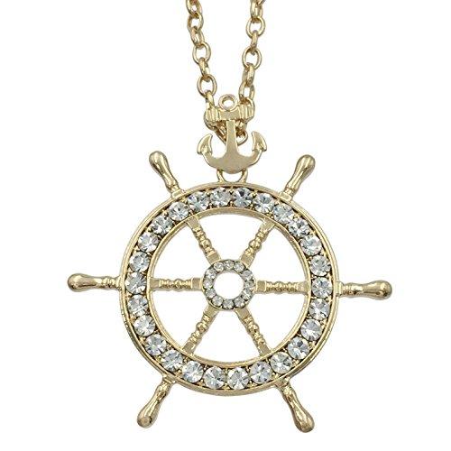 (Long Ship Wheel & Anchor Rhinestone Bling Nautical Theme Necklace (Gold Tone))