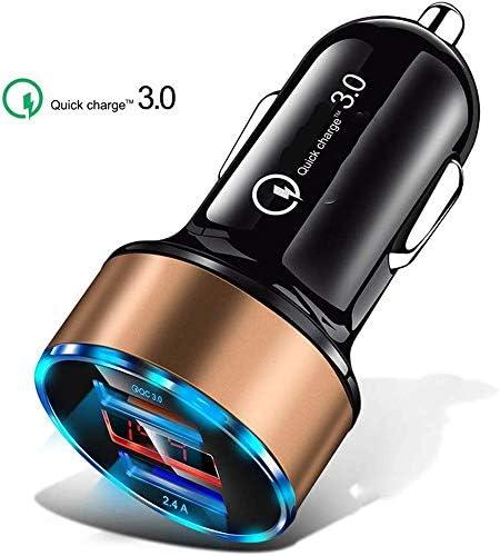 車の充電器、デュアル高速USB車のIOS&Android用アダプター、より多くの携帯電話とタブレットデバイス、シルバー/ゴールド/ブルー (Color : Gold)