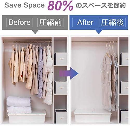 TAILI Hanging Vacuum Storage Bag Closet Organizers,Space Bag Hanging for Coats Storage,Set of 4 Long Size(53x27.6x15 Inch) Space Saver Bags,DustProof Waterproof 80% Space Saving