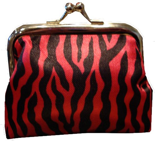 Small Zebra Stripe Clasp Coin Change Purse (Deep Pink/Red/Black) -