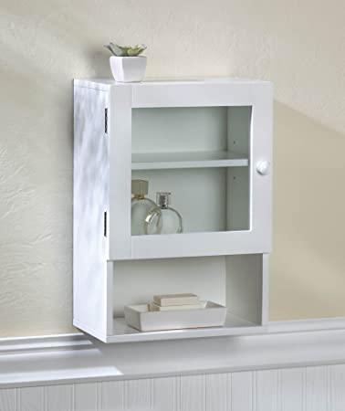 Space+ White Wall Mount Medicine Cabinet Bathroom Kitchen Storage Shelf  W/Mirror Door