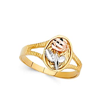 Amazon oval rose flower ring 14k yellow white rose gold floral oval rose flower ring 14k yellow white rose gold floral band polished solid tri color 10mm mightylinksfo