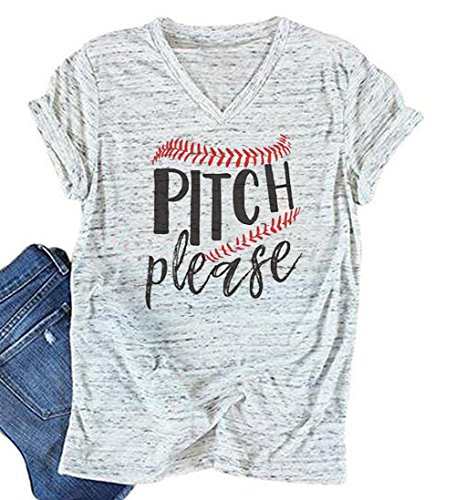 Tee Pitch - BANGELY Women's Pitch Please Baseball Letters Graphic T Shirt Casual V-Neck Tops Tees Blouses Size Large (White)