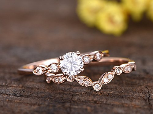 Solid 14k Rose Gold 5mm Round Charles and Colvard Moissanite Ball Prong Marquise Vintage Band Engagement Ring Set,Half Eternity Diamond Marquise Milgrain Antique Bridal Matching Band -