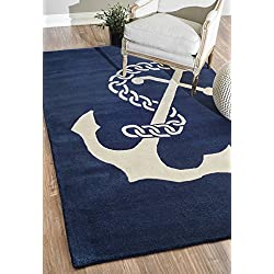 nuLOOM Navy Hand Tufted Set Sail Area Rug, 5' x 8'