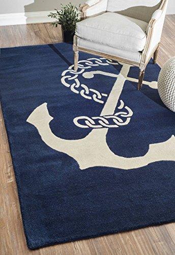 nuLOOM Navy Hand Tufted Set Sail Area Rug, 7' 6