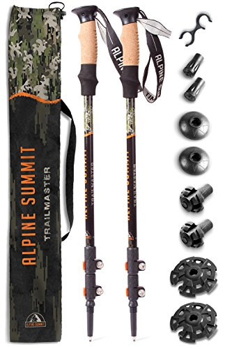 Alpine Summit Trekking Poles [ Pair ] Collapsible Hiking / Walking Sticks, Tungsten Tips, Ultralight, Cork Grips, Flip Locks