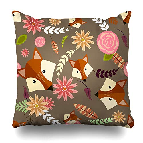 Ahawoso Throw Pillow Cover Rose Pink Cute Fox Floral Leaf Funny Pattern Branch Character Child Design Style Zippered Pillowcase Square Size 16 x 16 Inches Home Decor Pillow Case