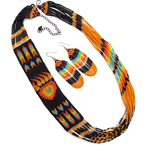 Native American Style Handmade Necklace Earrings Set Layered Seed Beaded (Black)