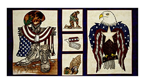 Blank Quilting American Honor 24in Soldier Panel Blue Fabric,