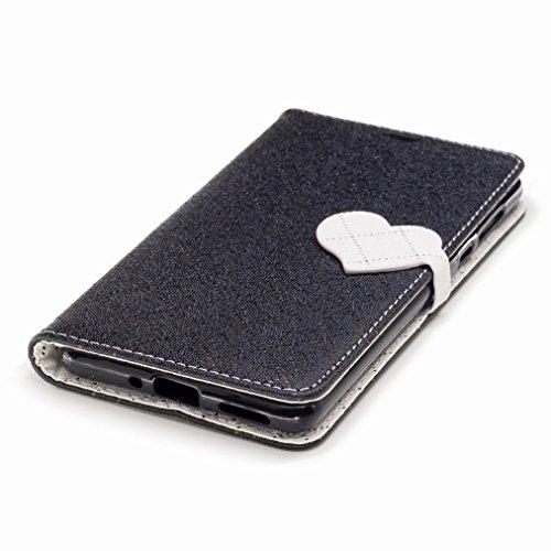 Yiizy Nokia 5 Custodia Cover, Amare Design Sottile Flip Portafoglio PU Pelle Cuoio Copertura Shell Case Slot Schede Cavalletto Stile Libro Bumper Protettivo Borsa (Nero)
