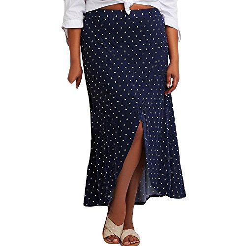 Sunenjoy Femme Longue Jupe Dot Imprim Robe Taille Haute Fente t Mode Casual Chic lgant Filles Jupe Plage Cocktail Party Bleu