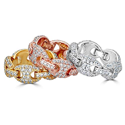 Solid 925 Puffed Mariner Sterling Silver Men's Iced Out Band Ring - Pinky or Ring Finger - Yellow, Rose, Or Natural Silver - Hip Hop Ring (Sterling-Silver, 7) (Pave Gold Micro White)