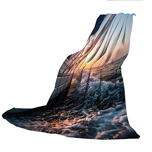- SCOCICI Customized Comfortable Blanket Sofa Bed or Bed 3D Printing,Nautical,Sail Boat in The Sea Waves Toward Sunset Marine Adventure Hobby Scenery,Light Blue Yellow,47.25