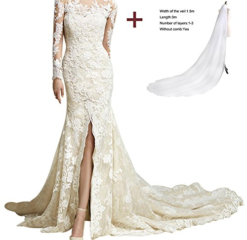 A15 Sleeves amp; Lace Neckline Long Dress Mermaid Annies Scoop Bridal Sweep Formal Train wfS7AAq