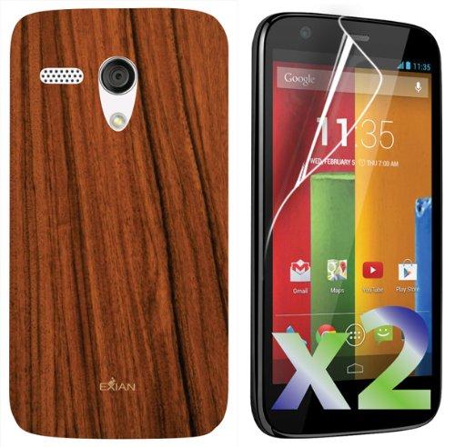 exian-motorola-moto-g-screen-guards-x2-and-tpu-case-wood-grain-pattern