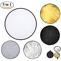 VNEED 43 inch 110cm Round Light Reflector 5 in 1 Diffuser Kit Portable Collapsible Disc with Bag for Photography Studio Photo Camera