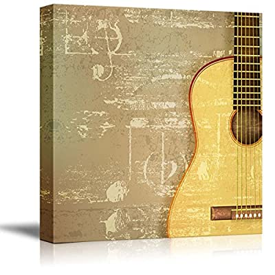 Vintage Style Abstract Green Sound Grunge Background with Acoustic Guitar - Canvas Art Wall Art - 12