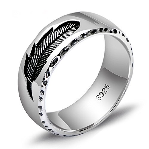 (MetJakt S925 Sterling Silver Feather Ring Vintage Thai Silver Jewelry for Unisex Hand Carved Pattern (10.5))