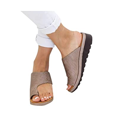 bac818a339ab4 Bclaer72 Women Orthotic Sandals with Arch Support, PU leather Soft Orthotic  Sandals for Plantar Fasciitis Stylish Beach Flip Flops Outdoor Toe Post ...