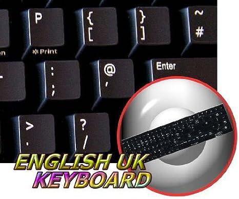 Repuesto adhesivo con teclado Inglés Reino Unido fondo negro: Amazon.es: Oficina y papelería