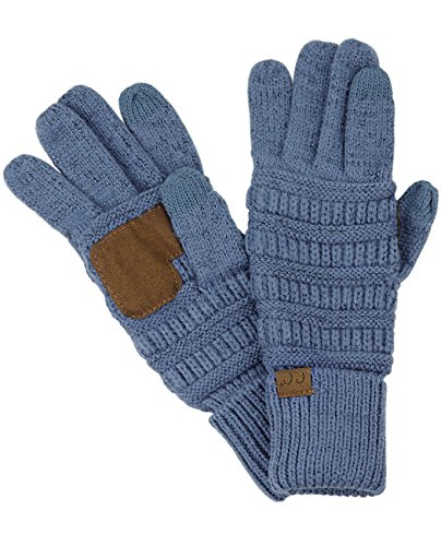 C.C Unisex Cable Knit Winter Warm Anti-Slip Touchscreen Texting Gloves, Dark Denim Metallic