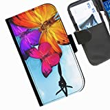Hairyworm - Coloured butterflies and barbed wire Acer Liquid Z220 leather side flip wallet cell phone case, cover with card slots, money slot and magnetic clasp to close.