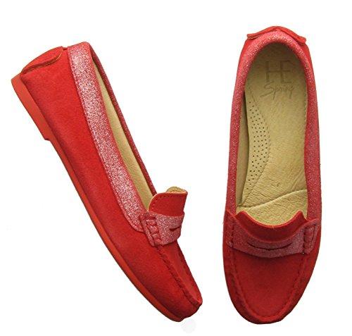 HE Spring–zt04Suede rot–Schuh Damen